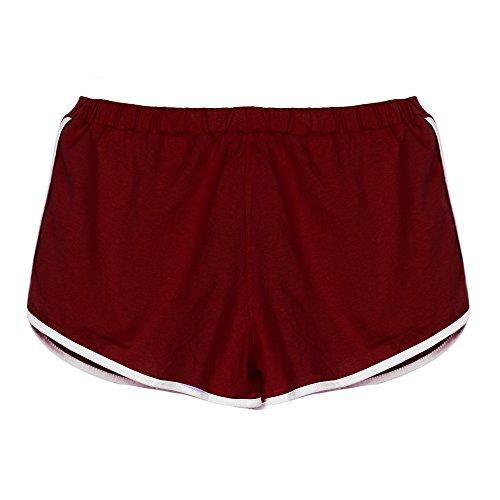 Ansenesna Shorts Damen Sommer Kurze Sport Freizeithosen Mit Gummibund Mädchen Teenager Freizeit Für Running (Rot 2, S) (Damen Culotte Shorts)