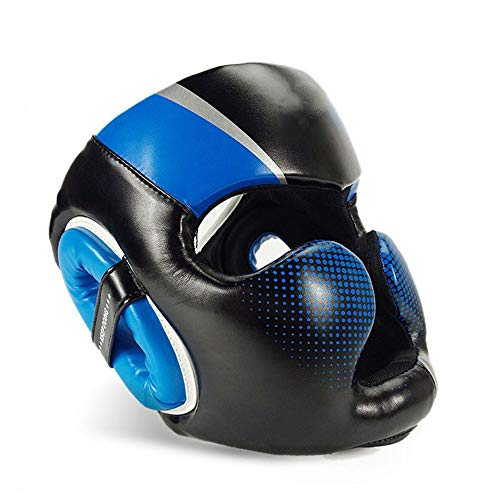 Ausrüstung für das Boxtraining Boxen Kopfbedeckung PU Leder Kopfschutz Sparring Helm für Boxen MMA UFC Muay Thai Kickboxing Mixed Martial Arts. Sportartikel ( Farbe : Blau , Größe : S ) -