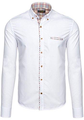 BOLF Herren Langarm Herrenhemd Figurbetont Freizeit Classic Slim Fit 5793 Weiß