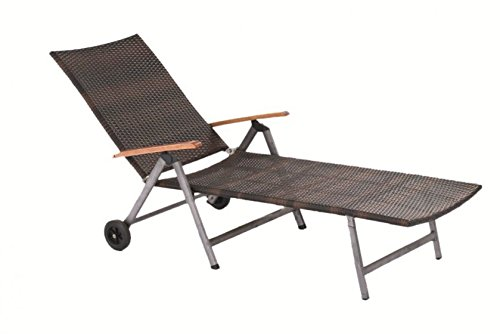 Muebles de Granada de mesa con diseño de silla respaldo de mimbre, Sonnenliege