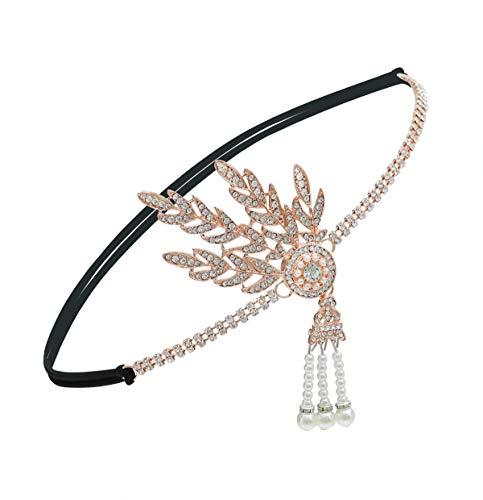 Elsa & Martin 1920er Jahre Perlen Stirnband Damen Blatt Stil Gatsby Stirnband 1920 Kostüme Haarschmuck Flapper Stirnband (Rose Gold) (Fashion Flapper Kostüm Für Erwachsene)