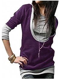 5 Farben Damen Longshirt Kapuzen Pullover Jacke Sweatjacke Hoody Tunika Shirt 2312 (Gr.S, violett-grau)