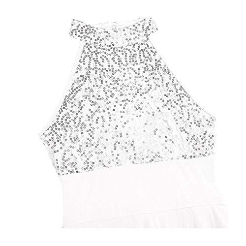 GROSIU& Women Ballerina Party Dancewear Long Lyrical Maxi Dress Gymnastics Tutu Leotard White Mesh XL Jovani Homecoming