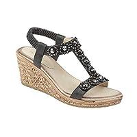 Aumsaa Ladies Wedge Heel Trim Halter Back Cushioned Sandal Shoes (8 UK, Black)