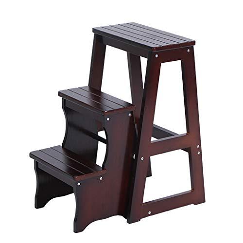 Klappstufen Treppenleiter Schwerlast Schritt Hocker 2 Stufen Holzleiter Tragbarer Klappstuhl Treppenleiter für den Haushalt Verbreiterter Hocker für Kinder/Erwachsene, Höhe 64 cm, braun