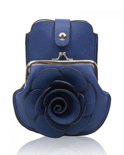 LeahWard® MINI Größe!!! Damen Mode Essener Blume Umhängetasche Qualität Kunstleder Bote Party Tasche Handtasche CWF003 CWF5348 OXFORD blau Umhängetasche
