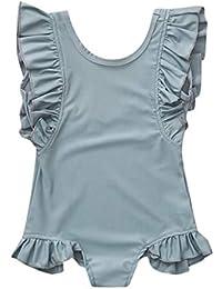 8db00798ecf2 Usstore Toddler Baby Girls Infant Girl Bikini Swimsuit Sleeveless O Neck  Frill Solid Color Swimsuit One
