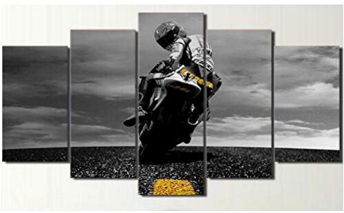 FimGGe5 Stück Leinwand Valentino Rossi Moto Poster HD Gedruckt Wand Kunst Wohnkultur Leinwand Malerei Bild leinwand Wand postermalerei-Groß mit Rahmen - Kunst-poster, Malerei