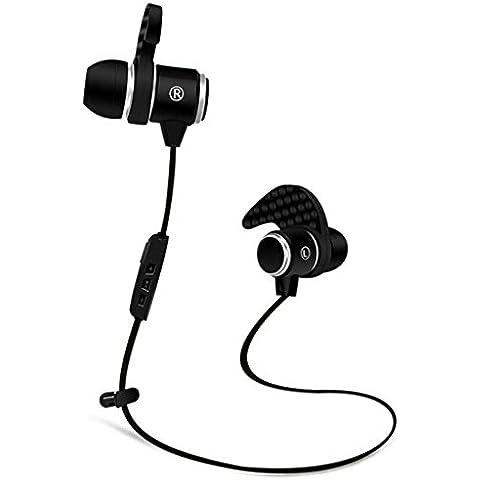 Cuffie Bluetooth, Wireless Sport sweatproof auricolari cuffie auricolari stereo Bluetooth con microfono per iPhone, per Running con controllo volume nero