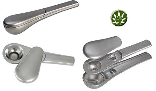 Set sieblose Metallpfeife silber 10cm magnetisch mit Schiebedeckel - komplett zerlegbar Metall inkl. Kunststoffbox - Fight 4 Legal Button Ansteckpin - Purpfeife (Metall Pfeife Rauchen)