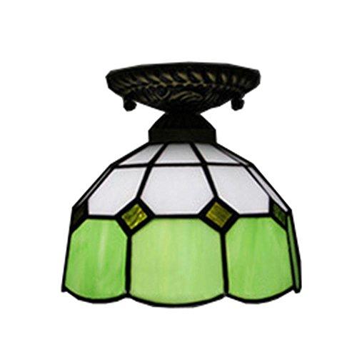 OOFAY beleuchtet Tiffany-Art-Retro- einfache Zink-Legierungs-Lichter 18 * 20cm E27 Buntglas-Deckenleuchten-rotes grün-blaues Gelb-Innendekorations-Malerei-Licht-Flur-Treppenhaus-Balkon-Gang-Lichter , Green