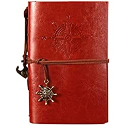 Carnet de Voyage POWEROWL Rechargeable A5 Journal Intime Carnet de Notes classique avec pages vierges et pendentifs vintage