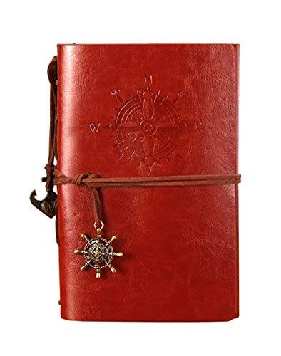 POWEROWL Carnet de Voyage, Rechargeable A5 Journal Intime Carnet de Notes Classique avec Pages Vierges et Pendentifs Vintage -Marron