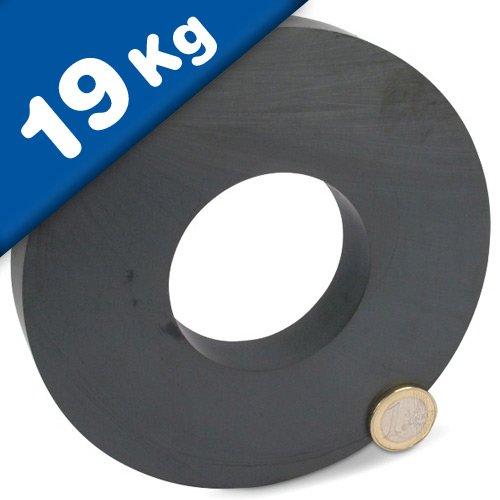 Ringmagnet Magnet-Ring Ferrit Y30 - Ø 140 x 63 x 17mm - Keramik Magnetring - Haftkraft: 19 kg - Material: Fe2O3 (Ferrit) Y30 - Qualität: Anisotrop - Einsatztemperatur: von -40°C bis +250°C