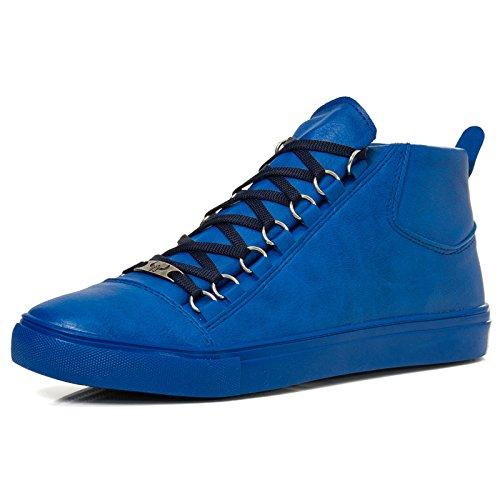 Homens High Top Sapatilha Skater Branco G5 Azul Limpo