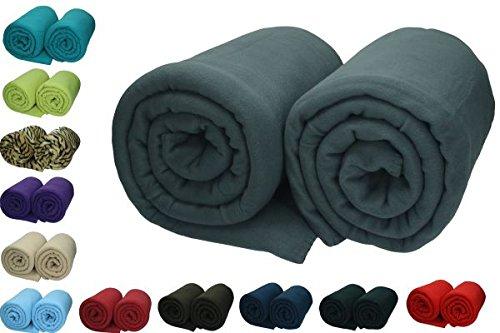 Betz 2 Stück Maxi Fleecedecke Kuscheldecke in Größe 140×190 cm Qualität 220 g/m² verschiedene Farben