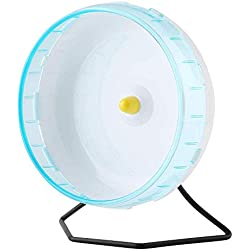 OTENGD Rueda de Ejercicio para Hamster Platillo Volante Correr Correr Silencioso Spinner Los Colores Pueden Variar Diseño de Girasol con Soporte para Mascotas pequeñas Tira Antideslizante Azul