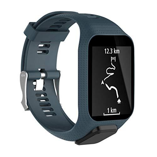 Waotier für Tomtom Runner 3 Armband mit Gehäuse Schutzhülle Silikon Armband Kompatibel für Tomtom Runner 3/2 Tomtom Adventurer / Golfer2 / SE Sport Armband mit Edelstahl Verschluss (Blau)