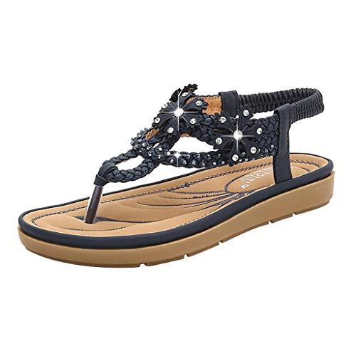 Ears Damen Sommer Sandalen Mode Sandalen Strass Casual Strand Hausschuhe Schuhe Lässige High Heels Böhmische Schuhe Römische Schuhe Beiläufig Breathable Atmungsaktiv Turnschuhe ()