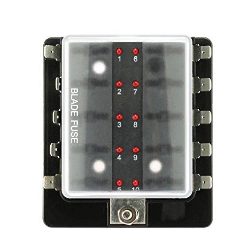 EgoEra® 10 Weisen Auto KFZ Sicherungskasten/Sicherungshalter/Sicherungsträger/Sicherungsblock Verteiler mit Abdeckung mit LED Zeigen Licht