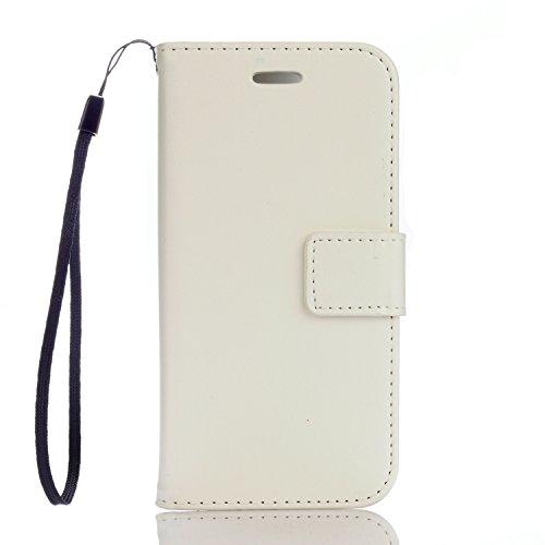 Funda iPhone 7 (4,7 zoll) Case , Ecoway PU Leather Cuero Suave Cover Con Flip Case TPU Gel Silicona,Cierre Magnético,Función de Soporte,Billetera con Tapa para Tarjetas ,Carcasa Para iPhone 7 (4,7 zoll) - blanco
