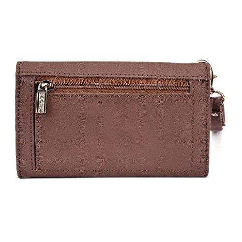 Kroo Pochette en cuir véritable téléphone portable Housse pour Asus ZenFone 2ze551ml Violet - violet Marron - peau