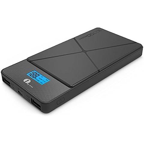 1byone 10000 mAh Dual puertos USB cargador portátil, Compacto externo, batería externa con pantalla LCD & Patrón clásico para teléfonos inteligentes,