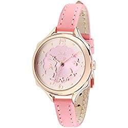 Fq-062 3D Genuine Leather Strap Cute Bowknot Rabbit Design Girls Lady Wrist Watches Pink