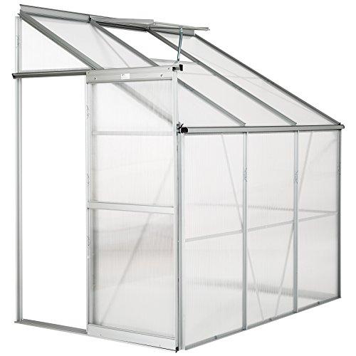 Tectake serra da giardino in alluminio e policarbonato per piante orto casetta esterno 4,09m³ serra a muro - modelli differenti - (192x128x202 cm | no. 402470)