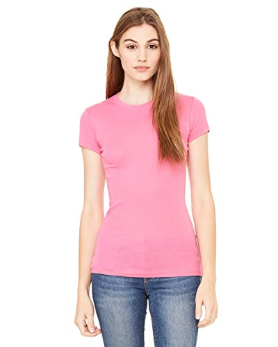Bella Canvas Ladies'Sheer a coste lungo Mini-Maglietta a maniche corte Very Pink