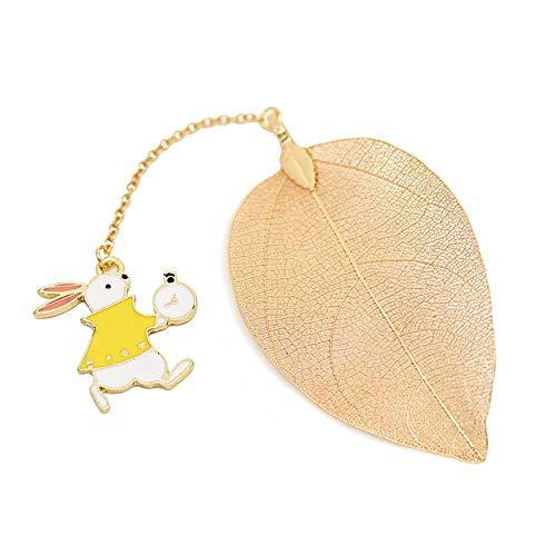 Foonee Alice nel paese delle meraviglie Leaf segnalibri, segnalibri assortiti metallo a forma di piuma segnalibri per adulti e bambini. Rabbit