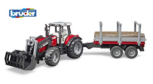 bruder 2046 Massey Ferguson 7480 mit Frontlader und Holztransportanhänger, Grau/Rot