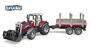 bruder-bruder-2046-tracteur Massey Ferguson 7480con Pala y Remolque de Transporte de Madera, 2046, Rojo