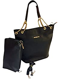Hema Arts & Crafts Designer Glossy Hand Bags For Women/Girls(BLACK)