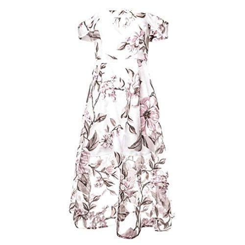 Oyedens Donna Gonna Moda Vestito Abito Lungo Maxi Stampato Floreale Con Stampa Floreale Rosa