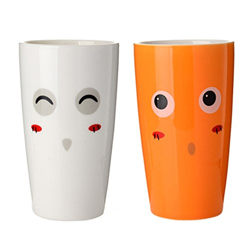 2pcs amateurs de porte-brosse ?dents tasse tasse de dentifrice, Orange / Blanc