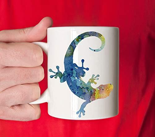 Thomas655 Gecko-Becher-Gecko-Geschenk Bunte Gecko-Aquarell-Tierkunst-Becher-Gecko-Kaffeetasse Einzigartige Tiergeschenke