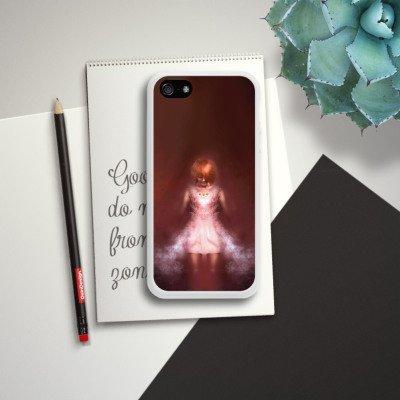 Apple iPhone 4 Housse Étui Silicone Coque Protection Fille dans le noir Halloween Housse en silicone blanc