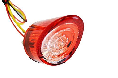 Rundes Spitz Glühbirne Rot LED Motorrad Brems & Schlussleuchte