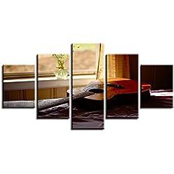 LMJZSA Mur Art Toile Photo décoration de la Maison modulaire 5 pièces Appui de fenêtre Chaude Guitare Folk Peinture Peinture HD Impression Affiche de la Musique, 40x60 40x80 40x100cm
