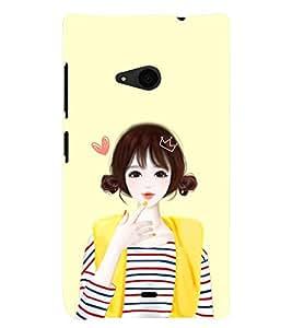 Printvisa Yellow Jacket Cute Girl Back Case Cover for Nokia Lumia 535::Microsoft Lumia 535