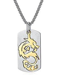 Bishilin Halskette Herren mit Anhänger Drache Kette Hip Hop Edelstahl Silber  Schwarz Gold… 0d7e26d5bf