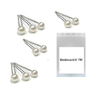 """Lot de 10 Pics à cheveux """"Perle Blanche"""" - Idéal pour Mariages - Longueur 7 cm par Boolavard ® TM"""