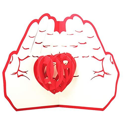 Jushi 3d pop up greeting card cuore tra le mani per anniversario, matrimoni, compleanni, day card 3d regalo della mamma