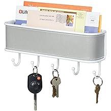 mDesign Organizador de correo y llaves - Estante para cartas y papeles, con colgador de 5 llaves - En gris y blanco, para montar en la entrada de la casa o en la cocina.