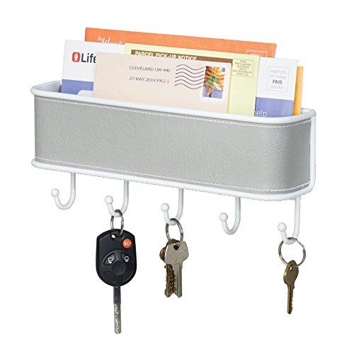 mDesign Briefablage und Schlüsselbrett-Organizer in grau-weiß, für Eingangsbereich oder Küche, wandmontiert - Schlüsselbrett-organizer