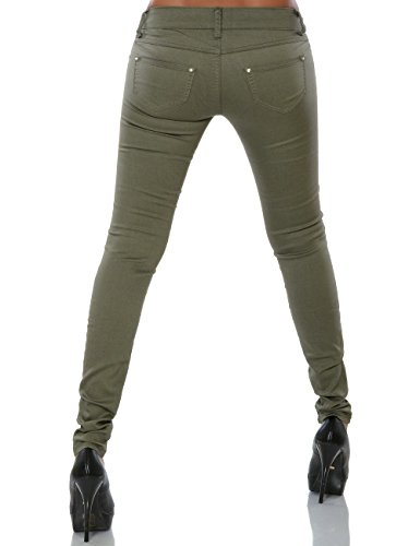 Damen Hose Skinny Slim Fit Stretch (Röhre weitere Farben) No 15688 Khaki