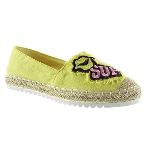 Angkorly Damen Schuhe Espadrilles Mokassin - Slip-on - Sneaker Sohle - Fantasy - Bestickt - Seil Flache Ferse 2.5 cm Gelb