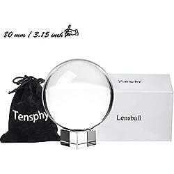 Tensphy K9 Boule de Cristal avec Support Décor d'art Clair K9 Cristal Prop pour la Décoration de la Photographie