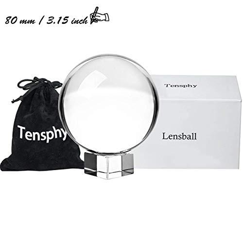 Tensphy K9 Bola de Cristal con Soporte Pulgadas Claro Decoración de Arte K9 Cristal Apuntalar para Fotografía Decoración